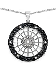3.90 Grams Black Cubic Zirconia & White Cubic Zirconia Silver Round Shape Pendant -Free Earrings