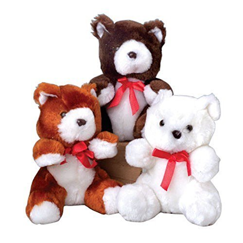 Assorted Color Teddy Bears With Red Ribbon Bows (12) (Teddy Bear Lot compare prices)
