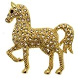 Acosta - Clear Crystal Prancing Horse Brooch (Gold Tone) - Gift Boxed