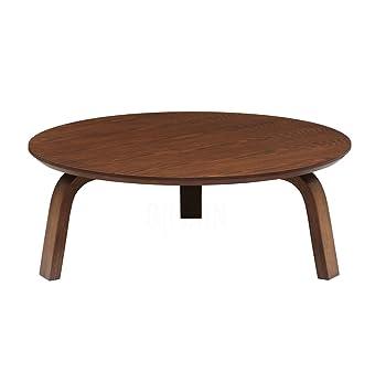 Mid-Century Modern Brown Wood Round Coffee Table | Scandinavian Style