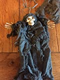 "Deluxe 72"" Hanging Halloween Plastic Gothic Skeleton Creepy Cloth Garland on Faux Rusty Barb Wire"