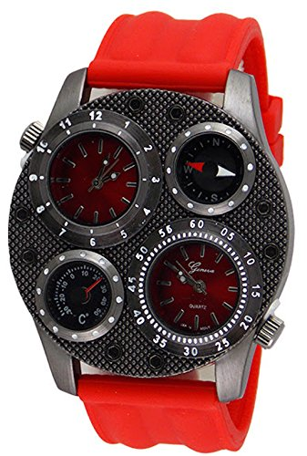 Dual Time Red Watch Mens Fashion Designer Compass Thermometer Geneva