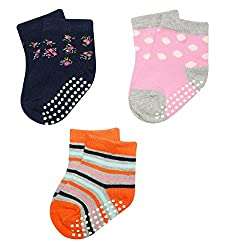 Wonderkids 3 Piece Printed Baby Socks - Pink, Orange, Navy Blue