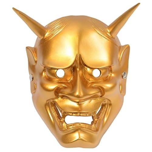 【SACHIHARE】黄金 金色に輝く 般若のお面 はんにゃのお面 仮面 マスク コスプレ お芝居 置物【オリジナルエコバッグセット】