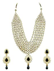 Bridal Jewellery Set Black Colored Seven Line Drop Shaped Reverse AD Necklace Set