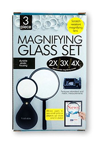 Magnifying Glass Set (2x/3x/4x Magnifying Power)