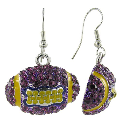 dome football rhinestone fish hook earrings purple