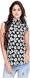 OSSI Women's Sleeveless Top (HS3066, Black and White, Large)