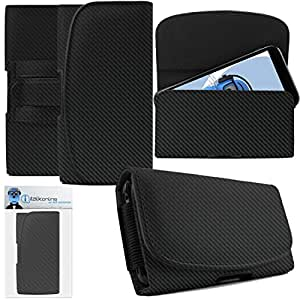 HTC Desire 830 Carbon Fibre / Fiber Black PREMIUM PU Leather Horizontal Executive Side Pouch Case Cover Holster with Belt Loop Clip and Magnetic Closure