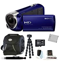 Sony HDR-CX240 HDRCX240B HDRCX240/B Full HD Handycam Camcorder (Blue) + Sony 16GB Class 10 Micro SDHC R40 Memory Card + Small Gadget Camcorder Bag +High Quality NPBX1 Rechargeable Battery + Accessory Kit