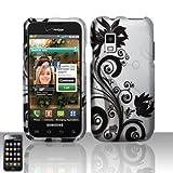 Rubberized Silver Black Vine Flower Snap on Design Case Hard Case Skin Cover Faceplate for Verizon Samsung Galaxy S Fascinate I500 ~ BALAJI