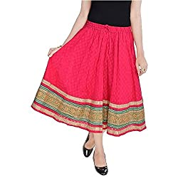 SHREEMANGALAMMART Rajasthani Pink Cotton Skirt (Magenta)(SMSKT589)
