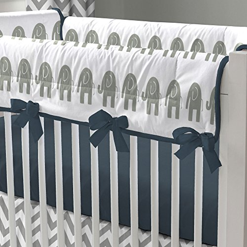 Navy And White Crib Bedding 400 front