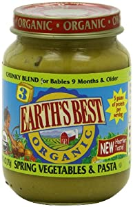 Earth's Best Organic Baby Food, Spring Vegetables & Pasta, 6 Ounce (Pack of 12)