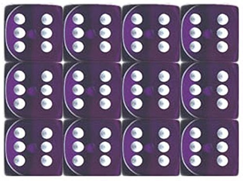 Translucent Purple 6 Sided 16mm Dice Block (12-Dice)