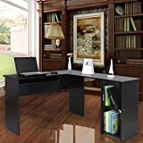 Songmics L-Shaped Office Computer Desk, Large PC Desktop with Sliding Keyboard, Home Office Study Workstation, Computer table, 140 X 120 X 75 cm, Black, LCD810B