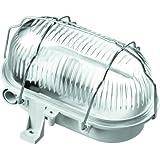 Voltman DIO065040 Éclairage de Plafond Hublot Ovale Grille Métal E27 Gris 60 W