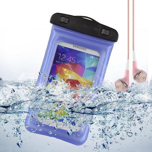 Blue Waterproof Pouch Case Dry Bag For Samsung Galaxy S5 / Note 2 / Lg G2 / Htc One M8 + Vangoddy Pink Headphone With Mic