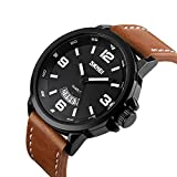 Mens Unique Analog Quartz Leather Band Dress Wrist Watch Waterproof Classic Business Casual Fashion Design Scratch Resistant Face Calendar Date Window Phase 98FT 30M 3ATM Water Resistant - Black Rating