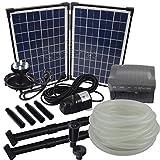 Agora-Tec® AT-Solar Bachlaufpumpen - Set 20W-BLH mit Akku...