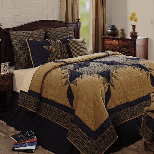 "4Pc Navy Star Hand Quilted Queen Quilt Bedding Set 2 Shams 1 Burlap Pillow ""Simply Blessed"" 15% Discount front-4810"