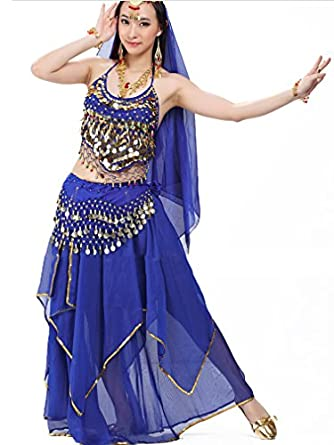 Belly Dance Dancing Costume, Halter Bra Top, Hip Scarf, Veil, Head Chain and Skirt White