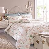 Janet Reger Luna Floral Bird Duvet Cover - 100% Cotton Cream Brown Pink Bedding