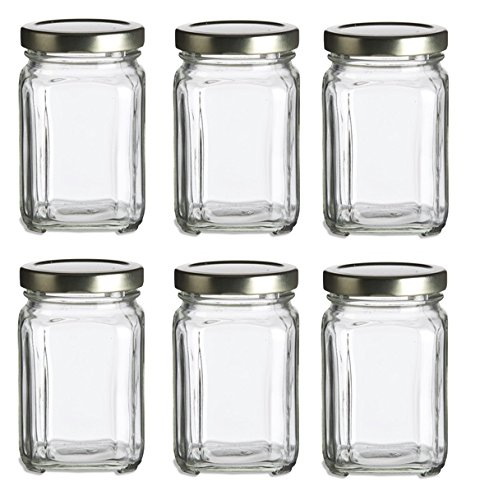 Nakpunar 6 pcs, 6 oz Square Glass Jars for Jam, Honey, Wedding Favors, Shower Favors, Baby Foods, DIY Magnetic Spice Jars