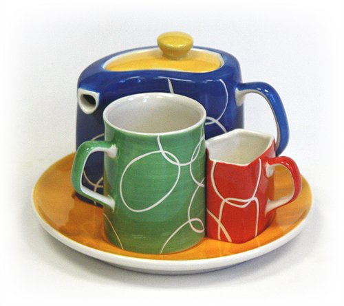 Rainbow Links Tea Service For One Set by Hues & Brews