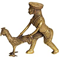 Exotic India Tribal Man Catching A Cock For Dinner - Brass Statue