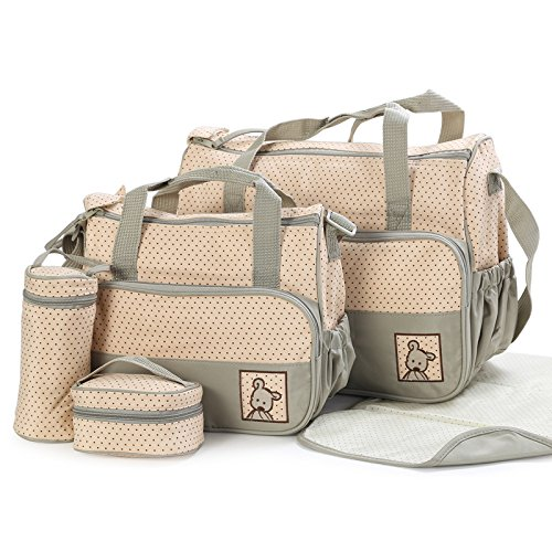 technotec-multi-function-baby-diaper-nappy-bag-mummy-changing-set-handbag-khaki