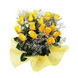 Little India Fresh Yellow Roses Flower For Friendship (Bunch Of 12)