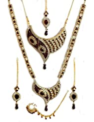 Faux Garnet And Cubic Zirconia Twin Necklace Set With Mang Tika - Stone, Bead And Metal