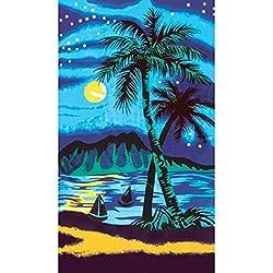Palm Tree Nightlife Velour Beach Towel