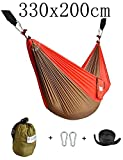 CUTEQUEEN TRADING Double Nest Ultralight Portable Outfitters Parachute Nylon Fabric Hammock For Travel Camping,Backpacking,Kayaking,Color: Olive/Red