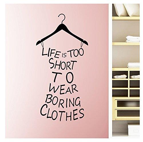 ウォールステッカー クローゼット 服 オシャレ Life is too short to wear boring clothes 【iBy アイバイ】 【日本語説明書付】