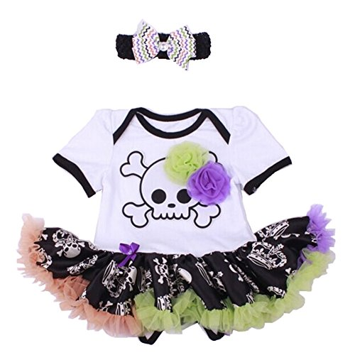 Baby Girls' 1st Halloween Skull Dress Outfit