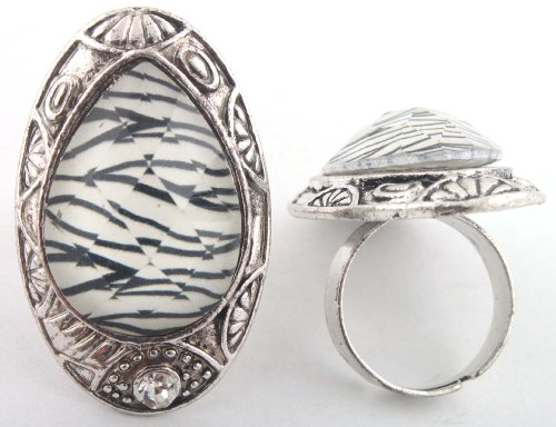 Ladies Silver with White Teardrop Style Adjustable Finger Ring with Zebra Patterns