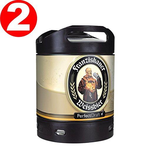 2-x-Franziskaner-Perfect-Draft-Weissbier-barril-de-cerveza-de-trigo-6-litro-50-vol