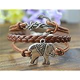 HITOP Fashion Vintage Cool Charms Damen Leder Bronzee Elefanten Anker Baum Armband Lederarmband Bracelet mit Charm Anhänger und Geschenk Tüte (5 Arten von Stilen optional)