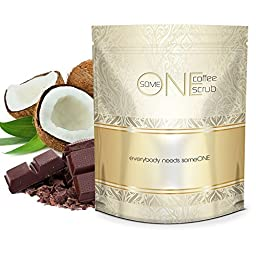 someONE Cacao Coconut Anti Cellulite Kona Coffee Scrub with Dead Sea Salts - 24 Ounces - All Natural (Cacao Coconut Fragrance) - Coffee Scrubs Are Great Body Scrubs for Reducing Cellulite and Stretch Marks