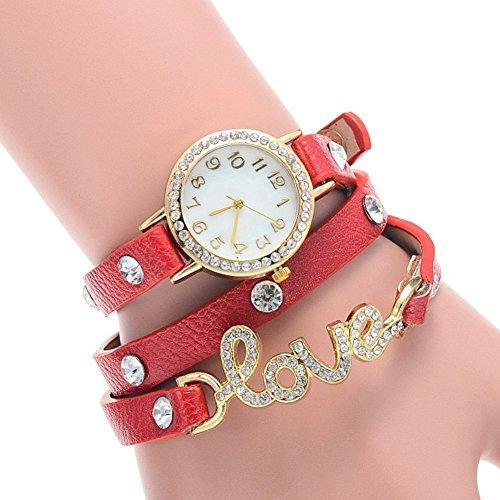 LinTimes Womens cristallo Love Faux fascia in pelle quadrante rotondo analogico orologio da polso al quarzo Bracciale Rosso