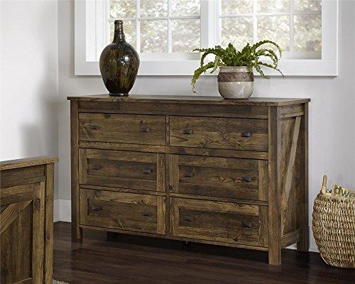 Altra Furniture Farmington 6 Drawer Dresser, Large, Century Barn Pine (Real Wood Dresser compare prices)