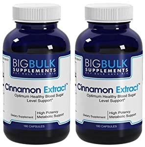 Cinnamon Extract Sugar Metabolism And Heart And Circulatory Health Support Big Bulk Suplements Standardized 8% Flavonoids 900mg 360 Capsules 2 Bottles