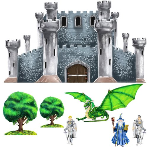 Wall art stickers medieval castle dragon knight wizard for Castle wall mural sticker