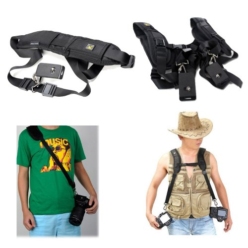 Eeekit For Nikon, Sony, Canon, Olympus, Pentax, Minolta Etc, Single Quick Neck Shoulder Strap + Double Dual Shoulder Quick Release Neck Belt Sling Strap