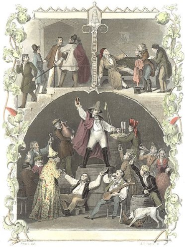 Germany: Prince Of Fools: Student Life Drinking, Antique Print, 1847