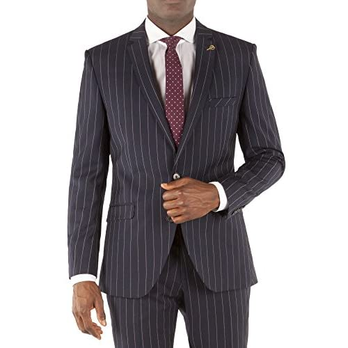 Suit Direct Gibson London Navy Tri Colour Stripe Two Piece Suit - Classic Single Breasted Slim Fit Two Piece Suit