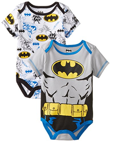 Warner Brothers Baby Baby-Boys Newborn Batman 2 Pack Bodysuit Set With Muscles, Gray, 0-3 Months front-190312
