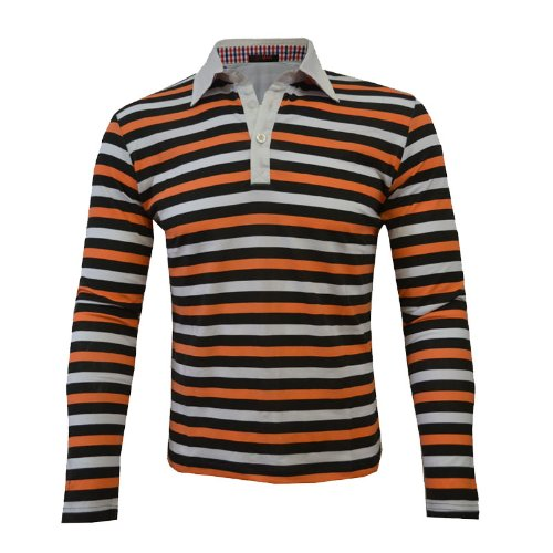 Mens Striped Polo Shirt Gents Long Sleeve T-Shirts Sizes UK M Orange